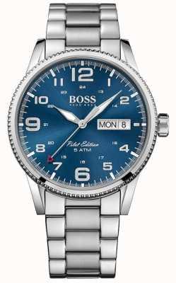 Boss Bracelet pilote homme vintage en acier inoxydable cadran bleu 1513329