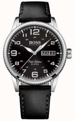 Hugo Boss Mens pilote cru bracelet en cuir noir cadran noir 1513330