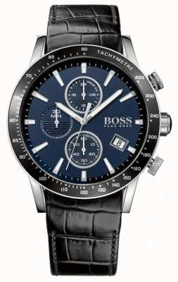 Boss Bracelet rafale en cuir noir pour homme avec cadran bleu 1513391