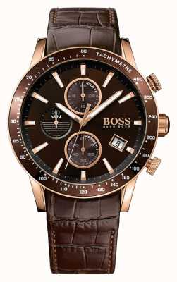 Hugo Boss Mens rafale cuir marron bracelet brun cadran 1513392