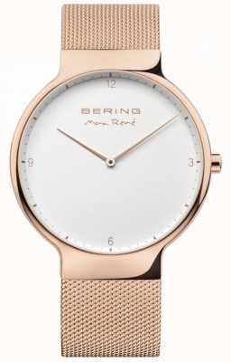 Bering Mens max rené sangle à mailles interchangeables rose or 15540-364