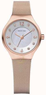 Bering Bracelet en maille dorée rose millanaise pour dames 14427-366