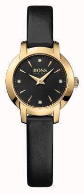 Hugo Boss succès Mesdames montre en cuir noir 1502383