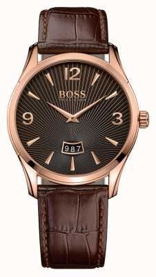 Hugo Boss Gents commandant de la montre en cuir marron 1513426