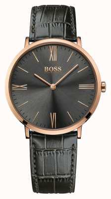 Hugo Boss Mens jackson gris montre en cuir 1513372