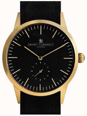 Smart Turnout Montre Signature - or avec cuir noir et bracelet en gf STK3/GO/56/W