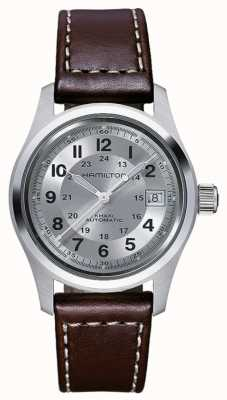 Hamilton Mens champ kaki cuir 38mm automatique brun H70455553