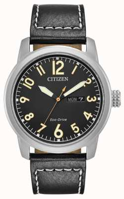 Citizen Chandelier en cuir noir Eco Drive pour homme BM8471-01E