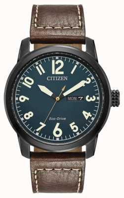 Citizen Hommes éco conduisent un chandler en cuir marron BM8478-01L