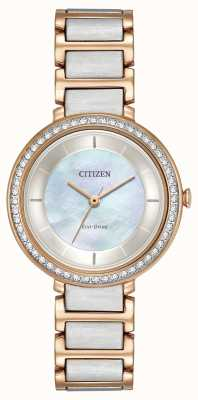 Citizen Womans eco-drive silhouette cristal deux tons or rose EM0483-89D