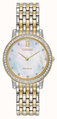 Citizen Womans eco-drive silhouette cristal deux tons or EX1484-57D
