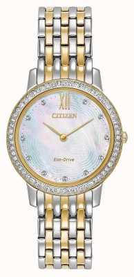 Citizen Cristal silhouette eco-drive pour femme | bicolore or / argent | EX1484-57D