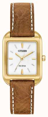 Citizen Womans eco-drive silhouette en cuir tan EM0492-02A