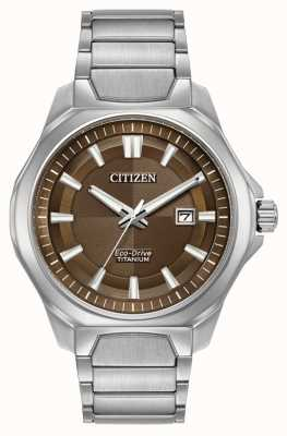 Citizen Mens eco-drive super-titane cadran brun montre AW1540-88X