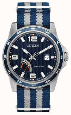 Citizen réserve de marche Mens Eco-Drive montre de tissu bleu AW7038-04L