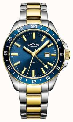 Rotary Hommes havane gmt deux tons bleu GB05082/05