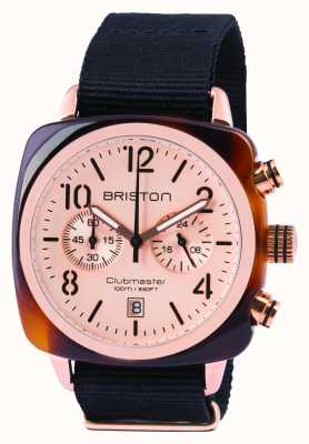 Briston Mens Clubmaster chrono acétate classique en or rose 14140.PRA.T.6.NB