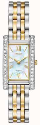 Citizen Mesdames citoyen silhouette cristal eco-drive deux tons EX1474-85D