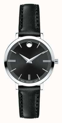 Movado bracelet en cuir noir ultra slim femme 0607094