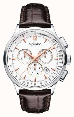 Movado chronographe vers Homme blanc boîtier en acier inoxydable 0606576