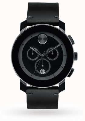 Movado Chronographe en gras cadran noir bracelet en cuir noir quartz homme 3600337