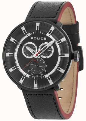 Police Mens ligue multi-fonctions en cuir noir cadran noir 15040XCYB/02