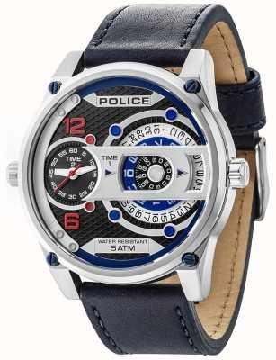 Police Hommes d-jay affichage de la date cadran noir bracelet en cuir 14835JS/02