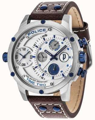 Police Bracelet en cuir à cadran argenté 14536JS/04