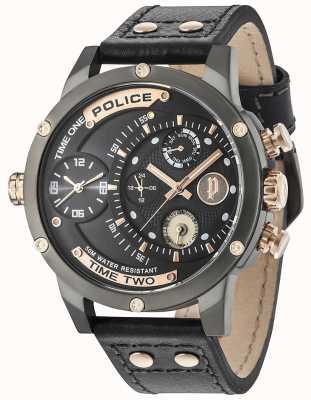Police Mens additionneur jour multi-fonction cadran bleu foncé bracelet en cuir 14536JSU/03
