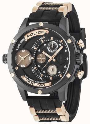 Police Mens additionneur jour multi-fonction cadran noir bracelet en caoutchouc 14536JSB/02PA