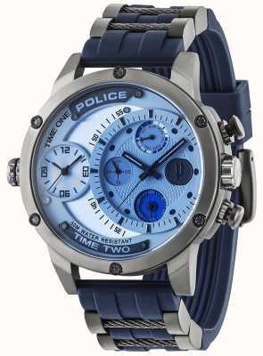Police Mens additionneur jour multi-fonction cadran argenté bracelet en caoutchouc 14536JSU/04P