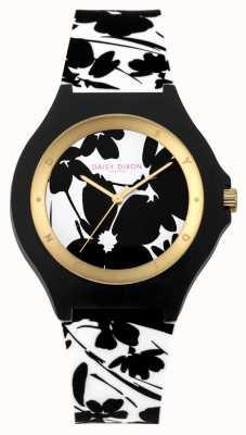 Daisy Dixon Bracelet en silicone floral noir blanc Womans DD040WB