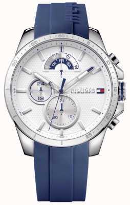 Tommy Hilfiger Chronographe blanc en caoutchouc bleu 1791349