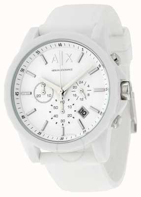 Armani Exchange Silicone chronographe blanc pour homme AX1325