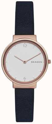 Skagen Womans ancher bracelet en cuir marine cadran blanc SKW2608
