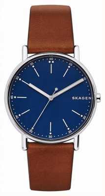 Skagen Signature en cuir marron marron bleu SKW6355