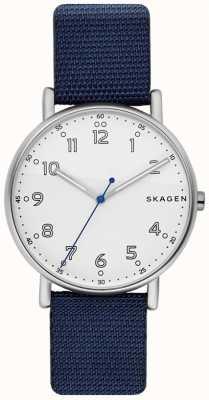 Skagen Hommes signatur bracelet bleu cadran blanc SKW6356