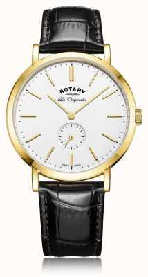 Rotary Mens swiss made bracelet en cuir noir windsor GS90192/02