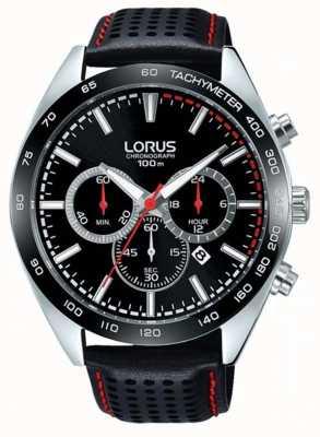 Lorus Mens chronographe en cuir noir RT307GX9