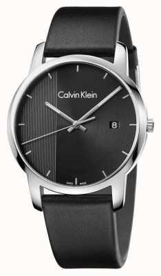 Calvin Klein ville Mens cuir noir cadran noir K2G2G1C1