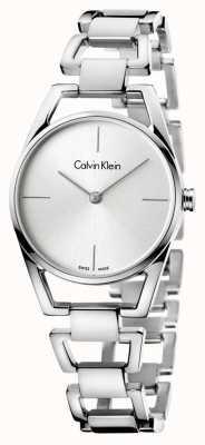 Calvin Klein Womans cadran argenté en acier inoxydable délicate K7L23146