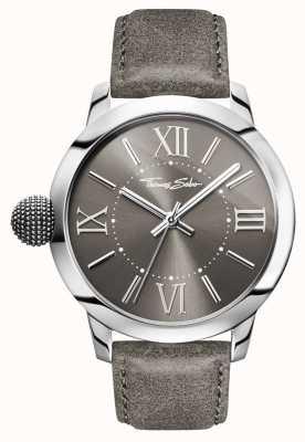 Thomas Sabo Mens rebelle avec le karma en acier inoxydable cuir gris WA0294-273-210-46