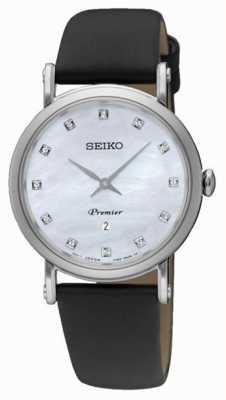 Seiko Womans Dame inoxydable date de l'acier bracelet en cuir noir SXB433P2