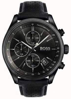 BOSS Chronographe Grand Prix pour homme Bracelet en cuir noir Cadran noir 1513474