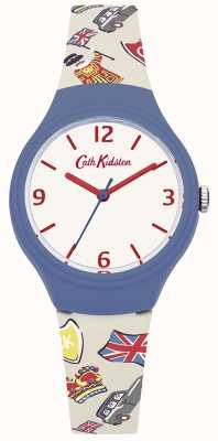 Cath Kidston Womans blanc sangle graphique britannique en silicone CKL026CU