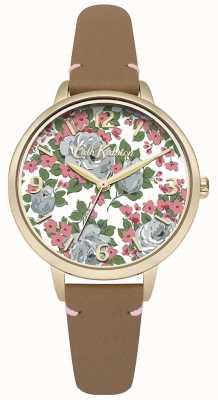 Cath Kidston Womans tan bracelet en cuir imprimé floral cadran CKL001TG