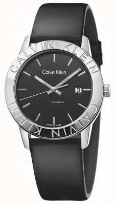 Calvin Klein cuir noir cadran noir Womans stable K7Q211C1