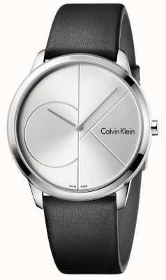 Calvin Klein Montre en argent noir en cuir noir K3M211CY