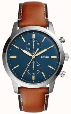 Fossil Homme chronographe townman cuir marron FS5279