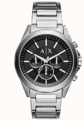 Armani Exchange Chronographe noir pour homme en acier inoxydable AX2600
